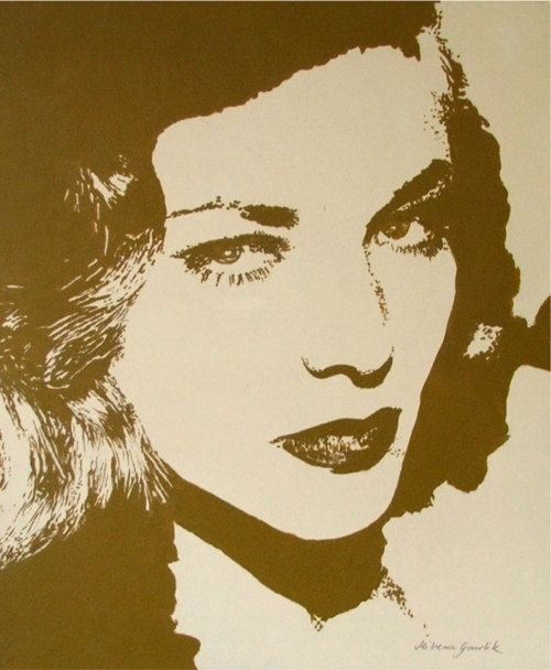 Woman portrait mid century actress Lauren Bacall by HardLineStudio