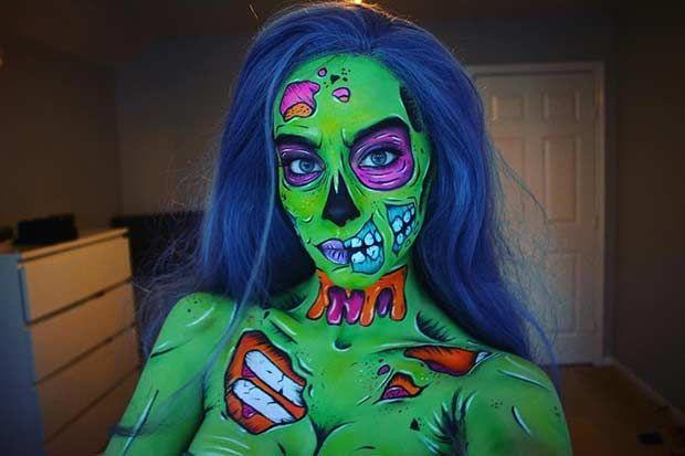 Pop Art Zombie Makeup Idea for Halloween 2016