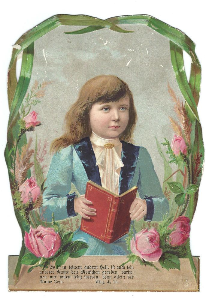 Victorian Die Cut sturdy piece Boy religious book Confirmation? scrapbook Bible?