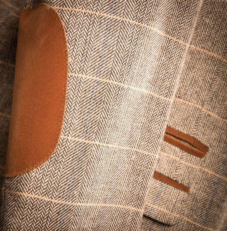 Marc Darcy DX7 Tweed Herringbone Check Suit Jacket - Tan - Master Debonair - 4