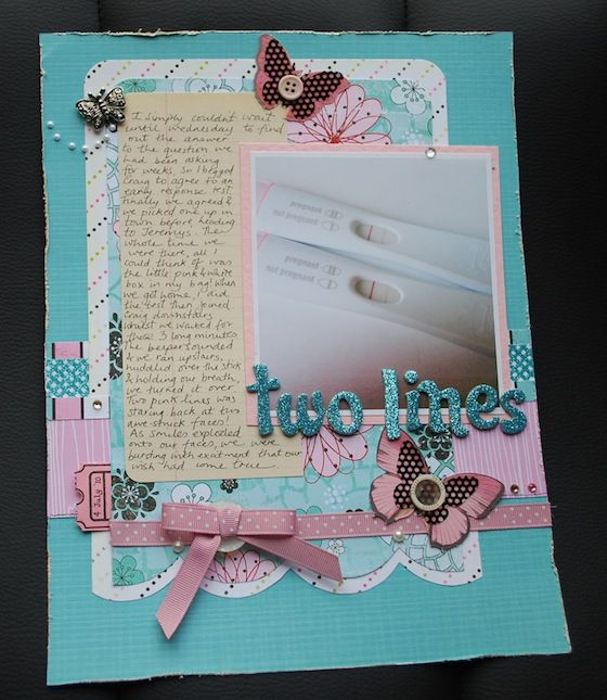 Two Lines – A Pregnancy Scrapbook Page