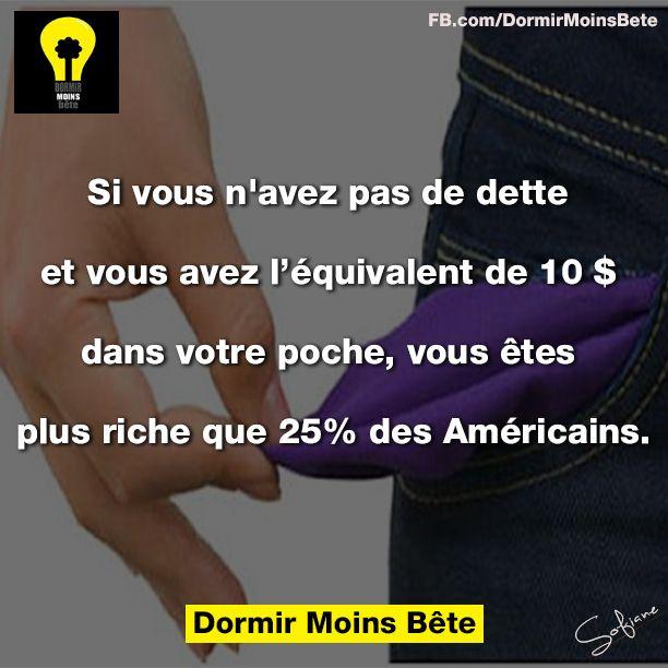 Si vous n'avez pas de dettes et vous avez l'équivalent de 10$ dans votre poche, vous êtes plus riche que 25% des Américains.