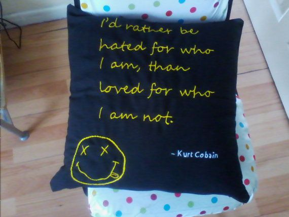 "Kurt Cobain Quote, Nirvana Inspired, black & yellow Hand Embroidered Cushion Cover,17x17"",Collectable Vintage, trade mark smiley face (gift)"