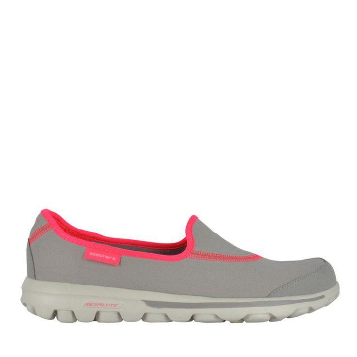 Skechers Womens Grey Pink Gowalk 2 Flash Gym sneaker s