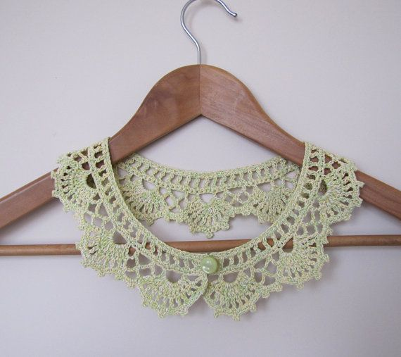 Lime Tea Lace collar necklace in green yellow and by elfinhouse, $20.00