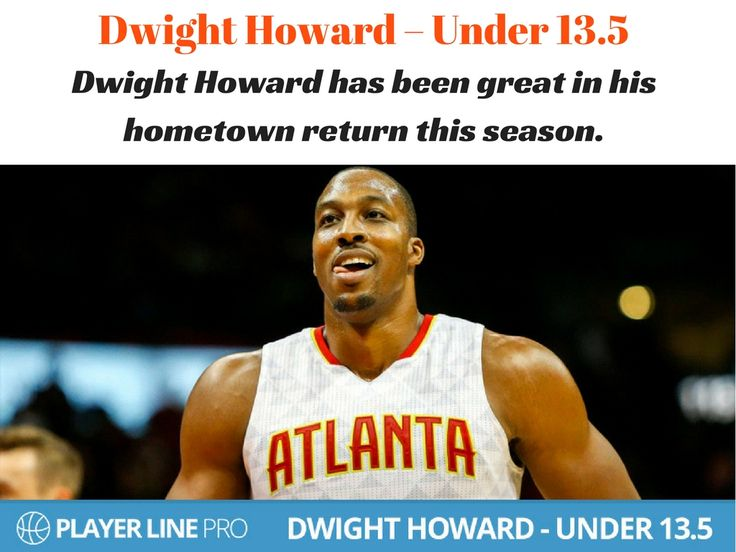 Thousands of free daily betting tips available at Player Line Pro. Have a look at Dwight Howard, who has been great in his hometown return this season and Under 13.5. Howard's usage and field goal attempts are some of the lowest of his career and his post touches have dropped.  #NBADailyPicks #NBADailyTips #LineMovement #PlayerLinePro #PlayerLine