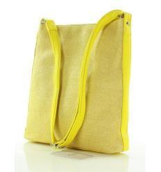 Wyplatana torebka listonoszka żółta