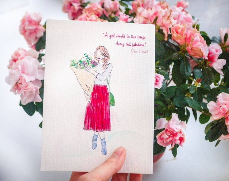 #Paper  #GreetingCards  #BlankCards  #Handpaintedgreetingcard  #Handpaintedcard #handmadecard  #printedcard  #watercolor #card  #CocoChanelquote  #Chanelquotecard  #Fashioncard  #Birthday #card #Fashionillustration  #Greetingcardforgirl #cardforher #pinkflowers #marsalaskirt #girlindress