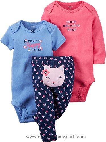 Baby Girl Clothes Carter's Baby Girls Take Me Away 3-Piece Little Character Set  -3 Months -Navy