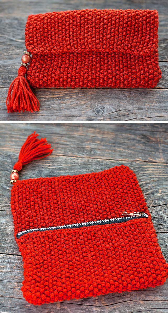 Free Knitting Pattern for 1 Row Repeat Tassel Clutch - The Knitted purse with beads and tassel features a 1 row repeat stitch pattern. Finished size: 21 cm x 13 cm x 2 cm. Designed by Gabriela Lupu