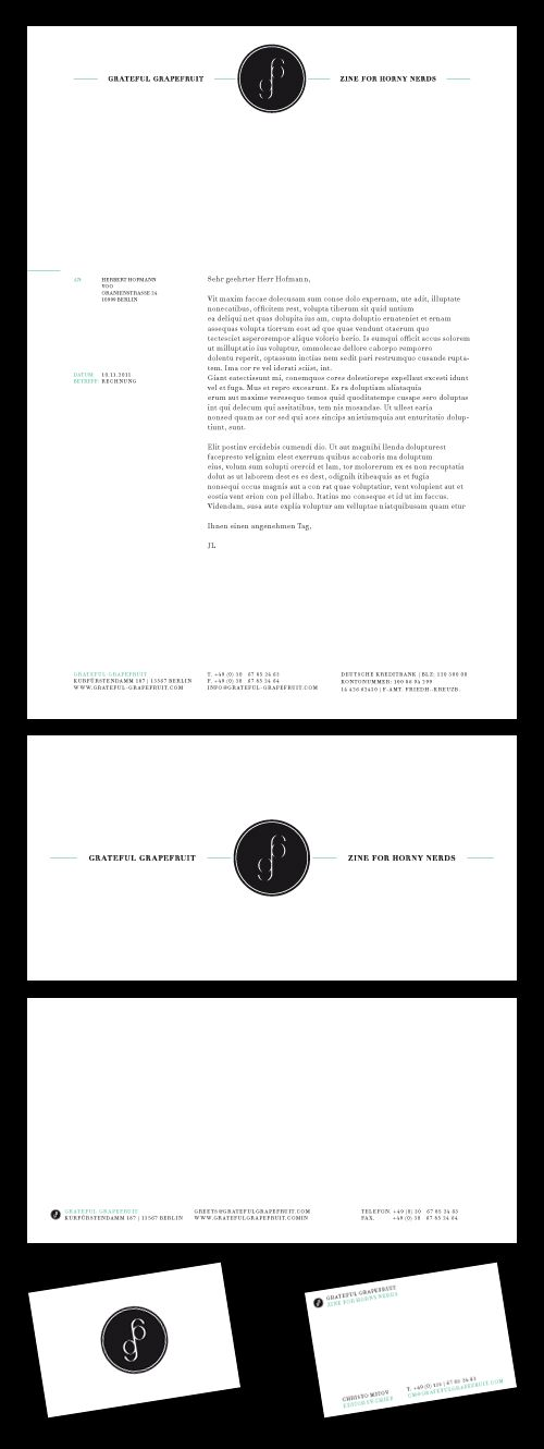 letterhead. Very classy deep black and white look