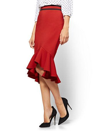 a1ea89c6d Shop 7th Avenue - Contrast-Trim Flounced Skirt - All-Season Stretch. Find  your perfect size online at the best price at New York & Company.