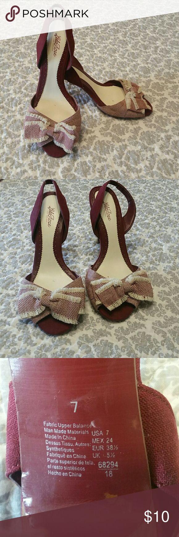 Lela Rosa Slingback Heels Sz 7 ~ I love these! Lela Rosa Slingback Heels Sz 7 3.5 in heel  Wine/Burgandy & White Lela Rose Shoes Heels