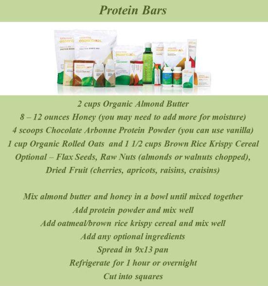 recipe for dairy-free, gluten-free protein bars using Arbonne vegan protein powder