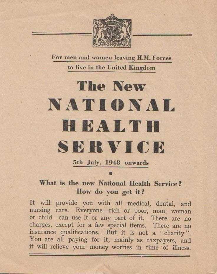Principles of the 1948 national health service
