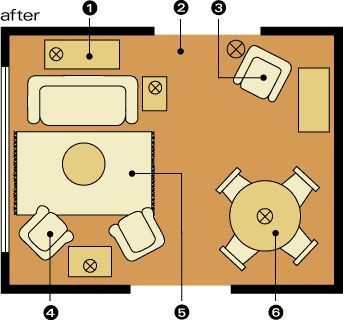 Spilt Focus layout (living room and dining room together) Room Arrangements for Awkward Spaces | Midwest LivingLiving