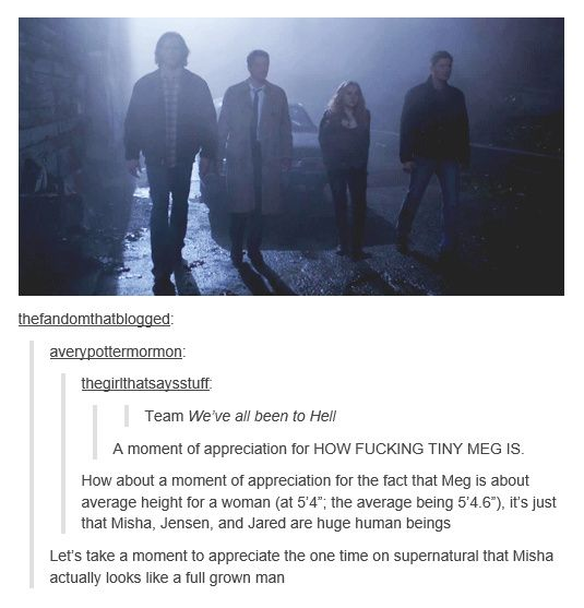 Supernatural Fandom on Megs' height compared to Team Free Will... lets take a further moment for me to take in how tiny i'd look next to them all, being 5'4 myself :L