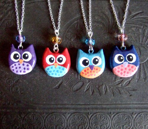 After the success of my felt owls in my ship, i made a bunch of clay painted owl necklaces, think they're just as cute :-) You can find them on my etsy shop here: http://www.etsy.com/shop/yael360
