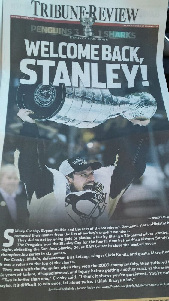 Pittsburgh Penguins 2016 Stanley Cup Champions Newspaper pittsburgh  #PittsburghPenguins