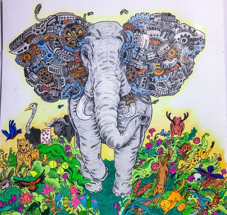 #imagimorphia #Kerby Rosanes #elephant #adult colouring coloured by Judy Boechler