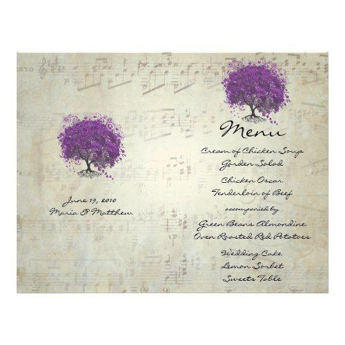 Fairy Tale Wedding Menu Purple Heart Leaf Tree Wedding Menu Letterhead