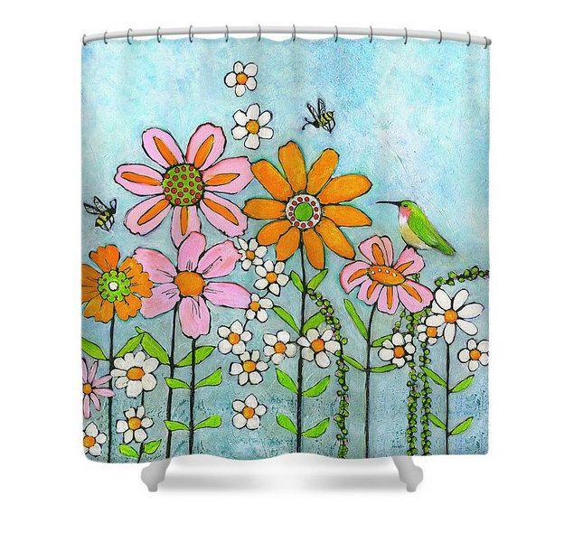 Boho Shower Curtain, Shower Curtain Art, Hummingbird Art, Colorful Modern, Bathroom Art, Bathroom Decor, Floral Shower Curtain by blendastudio on Etsy https://www.etsy.com/listing/270848636/boho-shower-curtain-shower-curtain-art