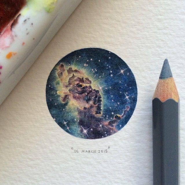 Miniature Watercolor Paintings of Space by Lorraine Loots - My Modern Met