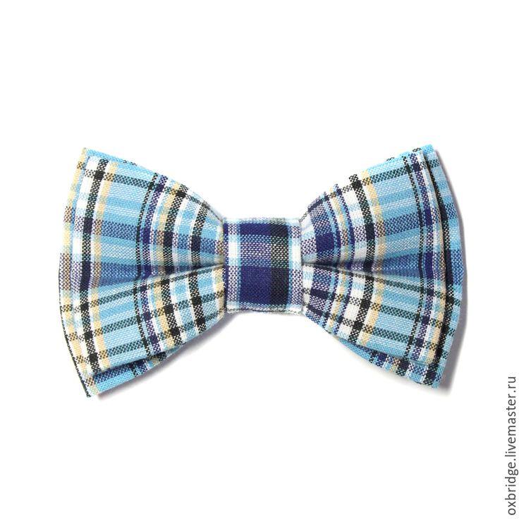 Купить Галстук бабочка в сине-голубую клетку / Бабочка галстук в клетку - галстук бабочка
