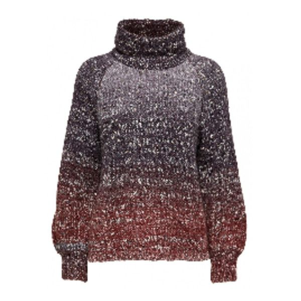 Glitz Rolleneck Knit Jumper (1,560 EGP) ❤ liked on Polyvore featuring tops, sweaters, purple jumper, high neckline tops, high neck top, purple top and purple sweater