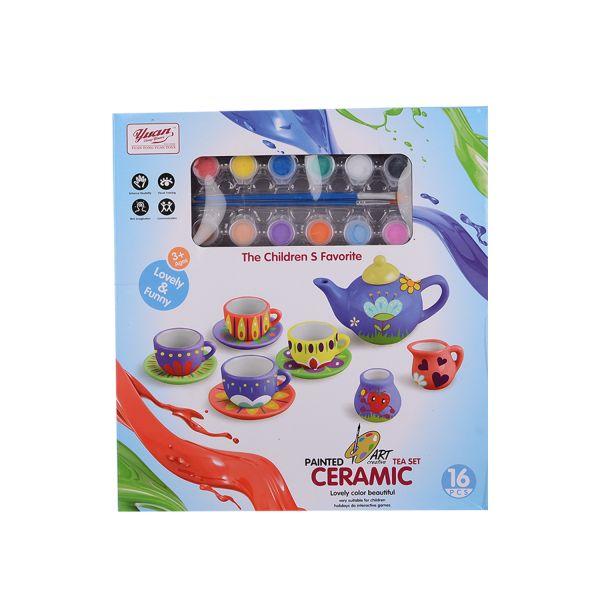 Juego de té de cerámica para pintar con acuarelas