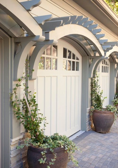 softening the front of the garage area with vines