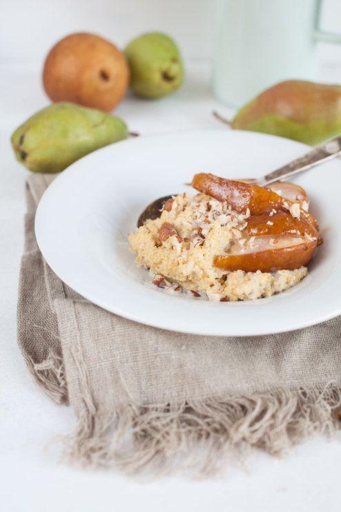 Millet porridge with pears for breakfast foodtastic -foodtastic