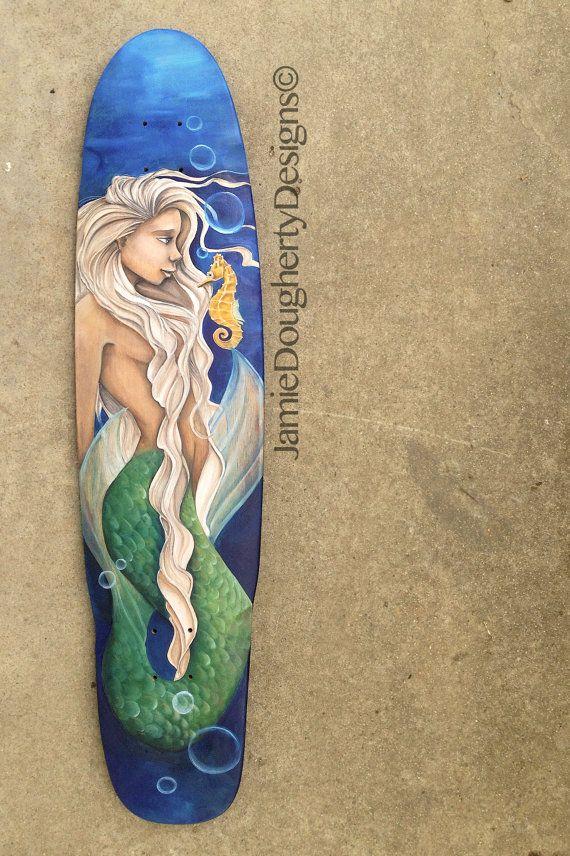 Mermaid Original Skateboard Deck Hand Painted by jaylynnscraps Jamie Dougherty Designs