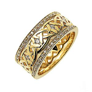 Our Dreams Diamond set Celtic ring, shown here in 18ct yellow gold