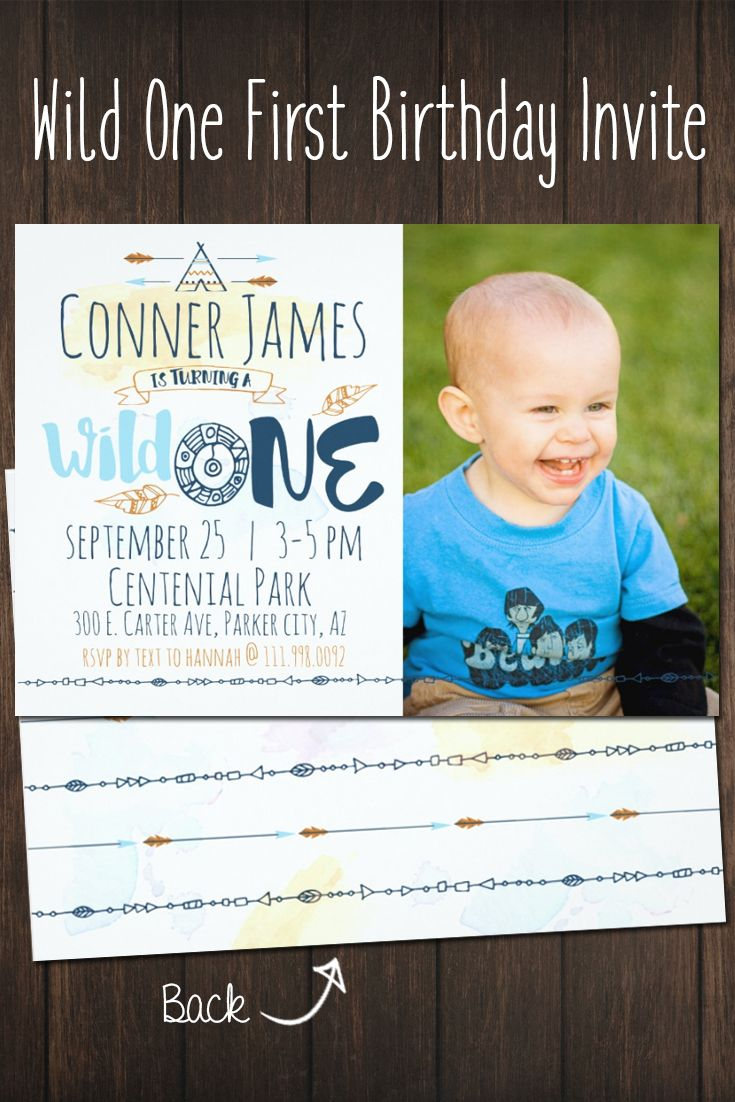 first birthday invitation wordings india%0A Wild One Boy u    s First Birthday Invitation   Tribal Boho Invite
