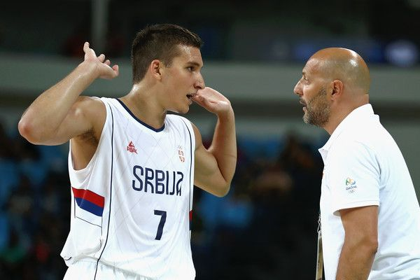 Bogdan Bogdanovic Photos Photos - Bogdan Bogdanovic #7 talks with head coach Sasha Djordjevic of Serbia during the Men's Basketball preliminary round Pool A game against Australia on Day 3 of the Rio 2016 Olympic Games at the Carioca Arena 1 on August 8, 2016 in Rio de Janeiro, Brazil. - Basketball - Olympics: Day 3
