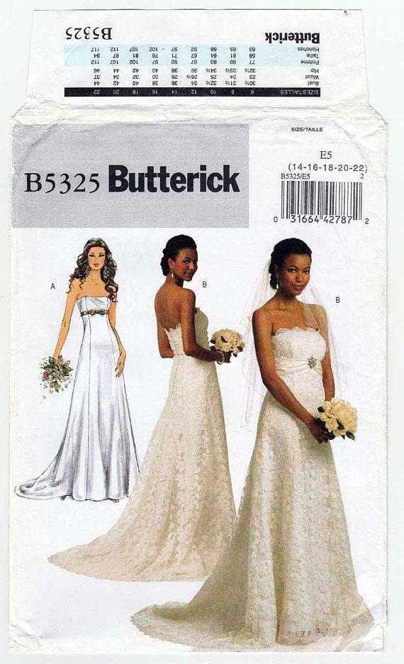 Wedding Dress Pattern Strapless Empire Waist Train Wedding | Bridal ...