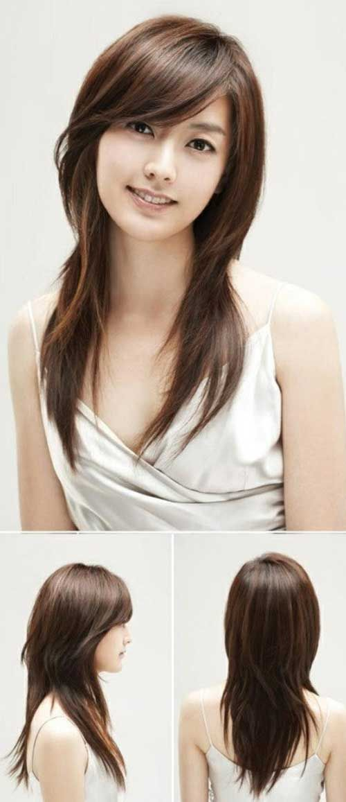 30 Long Hair with Side Swept Bangs