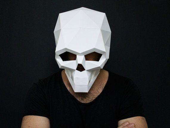 Make your own Skull Mask for Halloween, DIY Skull, Instant Printable  Pdf Templates, 3D Pattern, Printable Mask