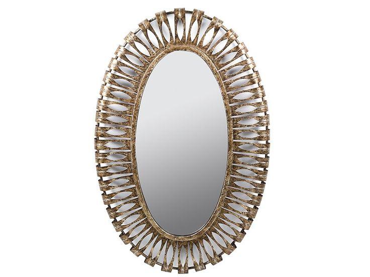 Espejo ovalado dorado envejecido