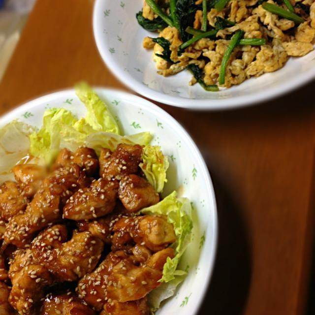 たんぱく質を意識した晩ご飯 - 12件のもぐもぐ - ささみの照り焼き ほうれん草と卵炒め by risakodayo