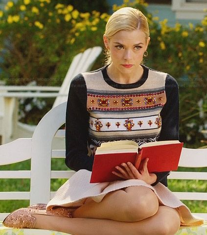 Lemon's embellished sweater with navy sleeves and studded loafers on Hart of Dixie.  Outfit Details: http://wornontv.net/29109/ #HartofDixie