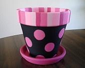 Large Black and Pink Polka Dot Painted Clay Pot