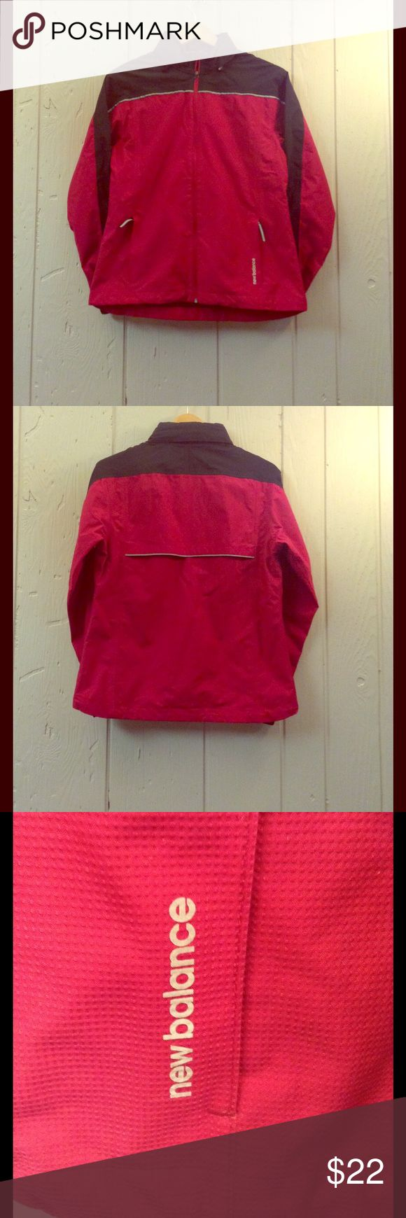 Women's vented activewear jacket. Like new lightweight New Balance windcheater  jacket. Berry red and black with reflective trim. Also has a hood in a zip up compartment.  Hidden drawstring inside. Relaxed fit. New Balance Jackets & Coats Utility Jackets