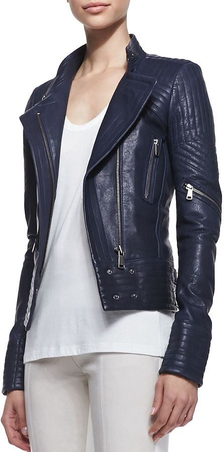 Navy Leather Jacket by Richard Chai. Buy for $1,095 from Neiman Marcus