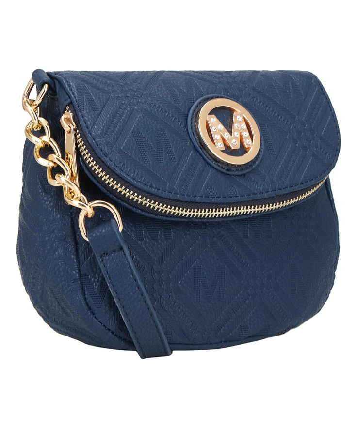 Take a look at this MKF Collection Navy Emblem-Embossed Crossbody today!