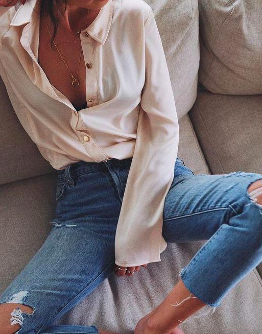 silk blouse + crop denim
