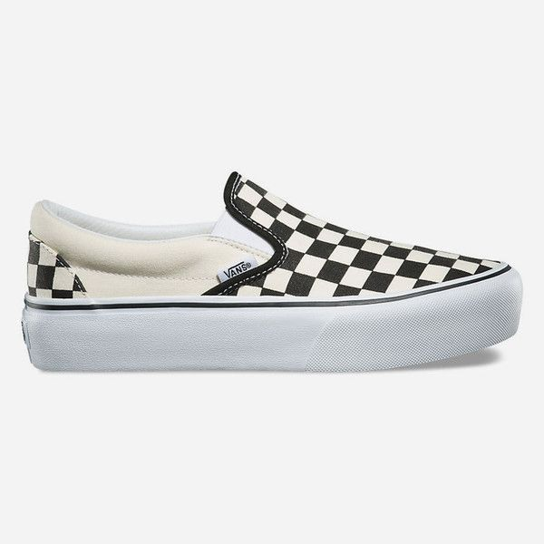 Vans Checkerboard Slip-On Platform Womens Shoes ($55) ❤ liked on Polyvore featuring shoes, sneakers, rubber shoes, platform trainers, low top, slip on shoes and vans sneakers