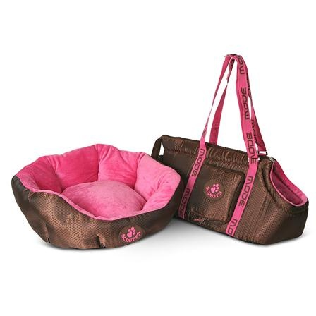 Scruffs Modeset Bed and Carrier, Chocolate & Pink