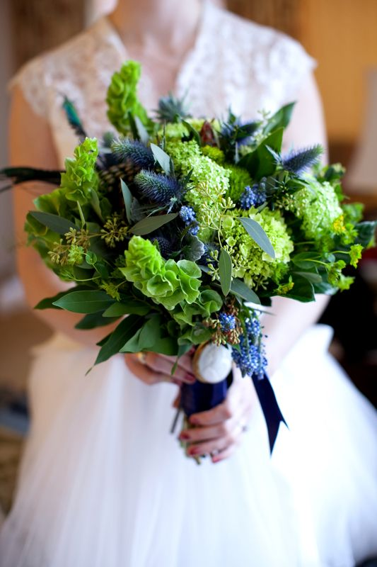 bells of ireland, seeded eucalyptus, green hydranea, sea holly, green trick dianthus
